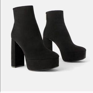 Zara Platform Heeled  Ankle Boots